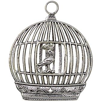 Silver Embellishments 4/Pkg -Bird In A Cage