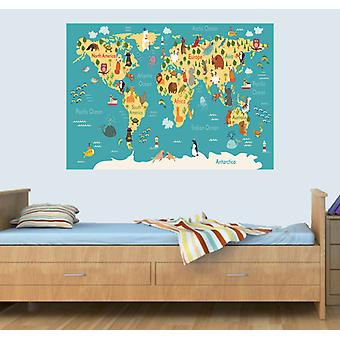 GNG Kid Animal Map Of the World Wall Art Decal Vinyl Stickers Picture for Boys/Girls Bedroom
