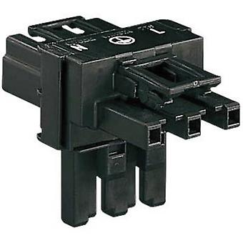 Mains T distributor Mains plug-Mains socket, Mains socket Total number of pins: 2 + PE Black WAGO
