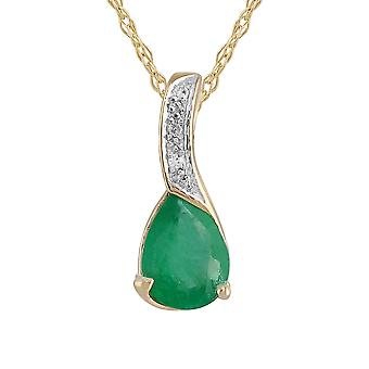 9ct Yellow Gold 0.89ct Natural Emerald & 1.2pt Diamond Classic Pendant on Chain