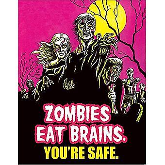 Zombies Essen Gehirne lustige Blechschild