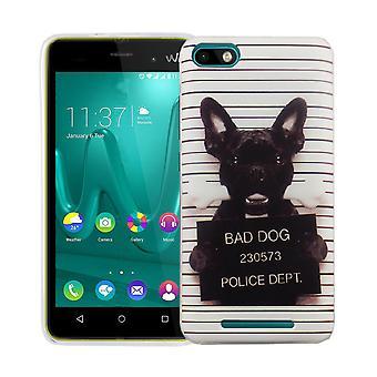 Mobiele bij 3 van WIKO Lenny cover case beschermende zak motief slanke siliconen TPU van slechte hond wit
