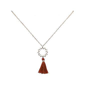 Ladies - - pendant - necklace 925 Silver - mandala - tassel - Maroon - YOGA - 45 cm