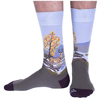 The Highland Stag luxury cotton dress sock in moss | Made in Wales by Corgi