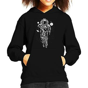 Astronaut Riding A Bicycle Kid's Hooded Sweatshirt