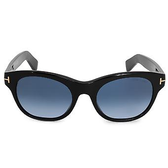 Tom Ford Alley Oval Sunglasses FT0532 01W 51 | Black Acetate Frames | Blue Gradient Lenses