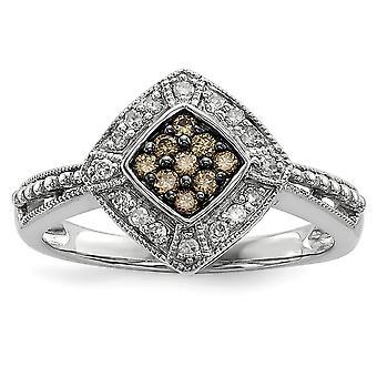 Sterlingsilber Geschenk Box ausgeschnittenen Seiten rhodinierten Champagner Diamant und kleine Diamant-Form-Ring - Ringgröße: 6 bis