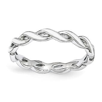 2mm Sterling Silver Polished Rhodium-plated Stackable Expressions White Enamel Ring - Ring Size: 5 to 10