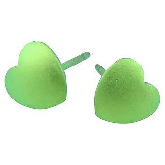 Ti2 титана геометрические сердце серьги Стад - свежий зеленый