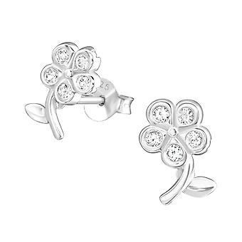 Flor - 925 plata Circonita zarcillos - W22001X