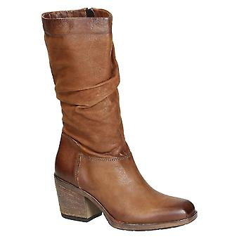 Women's western boots in brandy italian leather