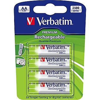 Verbatim rechargeable batteries, AA (LR06), Ni-MH, 2500mAh