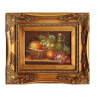 Fruits, oil painting with frame, interior dimensions 13 x 18 cm