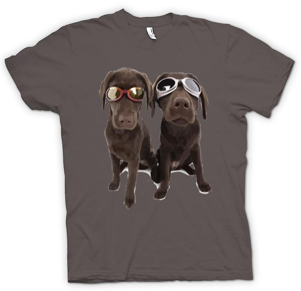 Womens T-shirt - Cool Black Labradors With Sunglasses