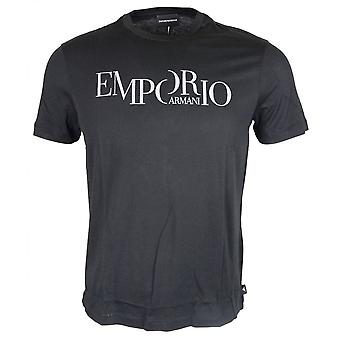 Emporio Armani Cotton Round Neck Printed Logo Black T-shirt