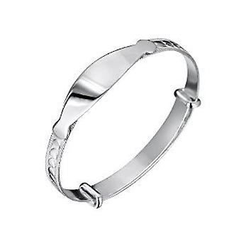 Jo For Girls Sterling Silver Heart ID Tag Expanding Baby Bangle Bracelet