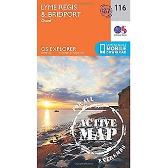 OS Explorer mapa ativo (116) Lyme Regis e Bridport (Explorer OS mapa ativo)
