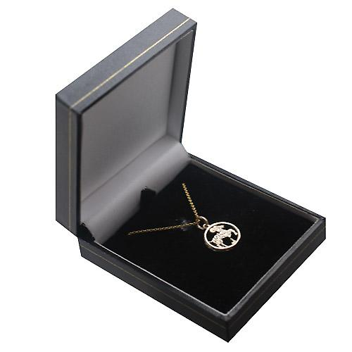 9ct Gold 11mm pierced Aries Zodiac Pendant with a cable Chain 16 inches Only Suitable for Children