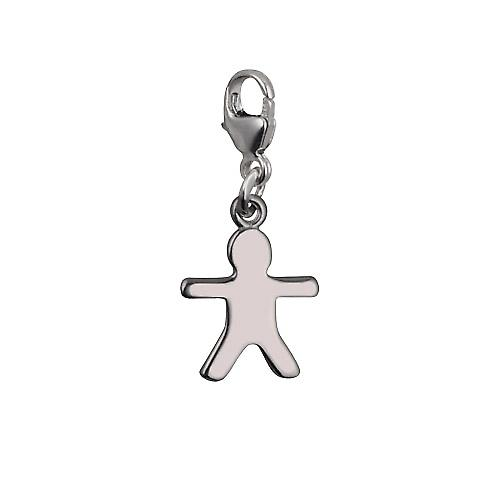 Silver 11x12mm Gingerbread Man Charm on a lobster trigger
