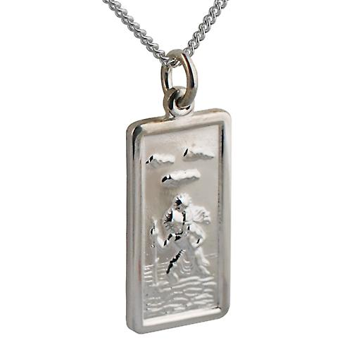 Silver 26x13mm rectangular St Christopher with Curb chain