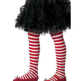 Girls Red & White Striped Tights Christmas Elf Fancy Dress Accessory
