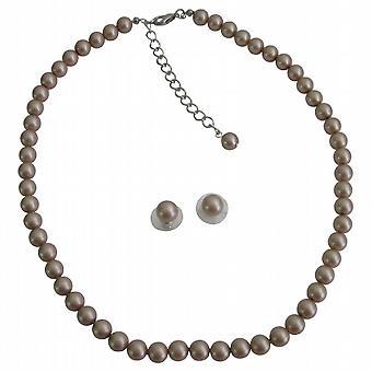Ювелирные изделия ручной работы шампанского Swarovski жемчуг ожерелье серьги Стад