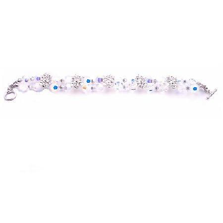 Comet Argent Swarovski Crystal & Irridescent AB Round Crystal Bracelet