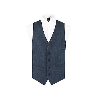 Harris Tweed mężczyźni niebieski idealna czarny jodełkę Tweed kamizelka przycisk regularne dopasowanie 5