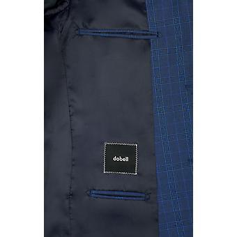 ・ ドベル メンズ ブルー チェック スーツ ジャケット レギュラー フィット ノッチ襟