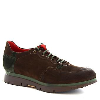 Leonardo Shoes Man's handmade lace ups shoes in brown suede leather