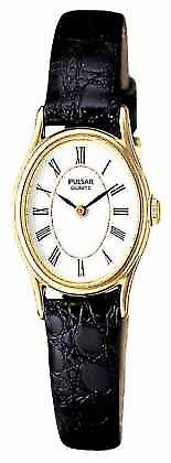 Pulsar Womens' Gold Plate White Oval Dial Black Leather PPGD64X1 Watch