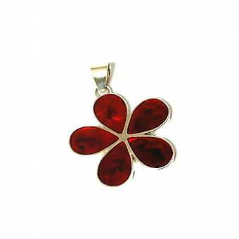 Inferno 925 Silver Cherry Red Abalone Paua Shell Flower Pendant on 18