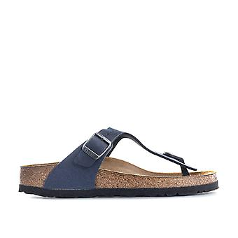 Children Boys Birkenstock Gizeh Pull Up Sandals In Navy- Slip-On Toe Thong