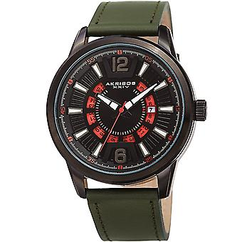 Akribos XXIV AK1079BKGN Men's Date Wheel Strap Watch – Quartz Wristwatch