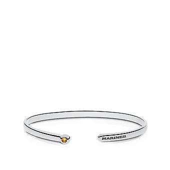 Us Marines - Marines Engraved White Sapphire Cuff Bracelet