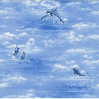 Rasch Blue Dolphins Ocean Wallpaper Sky Water Clouds Sea Animal Print Textured