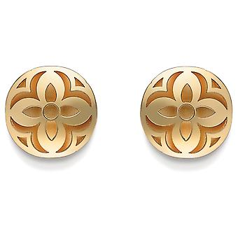 Jewelco London 9ct Gold 2-Layer Satin Interior Domed Floral Stud Earrings