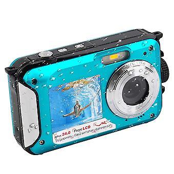 1080p full hd waterproof digital underwater camera - 24 mp video recorder selfie dual screen dv recording camera, blue
