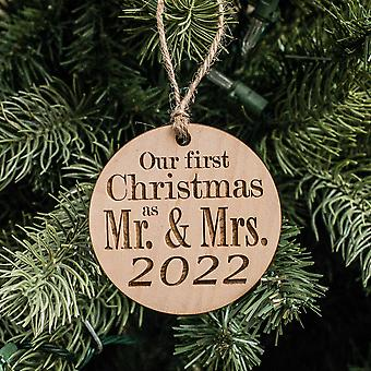 Ornament - 2022 our first christmas as mr and mrs - raw wood 3x3in
