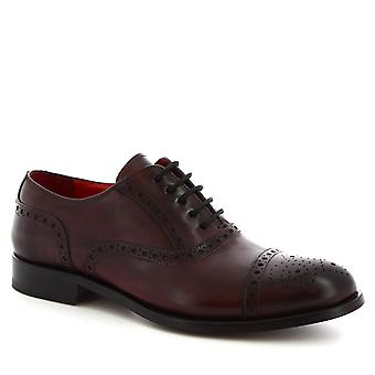 Leonardo Shoes Men's handmade brogues oxford shoes in burgundy calf leather