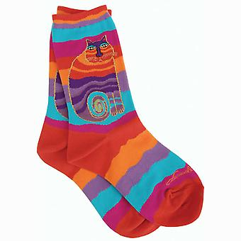 Laurel Burch Socks Rainbow Cat Multi Wavy Stripe Socks 1035M