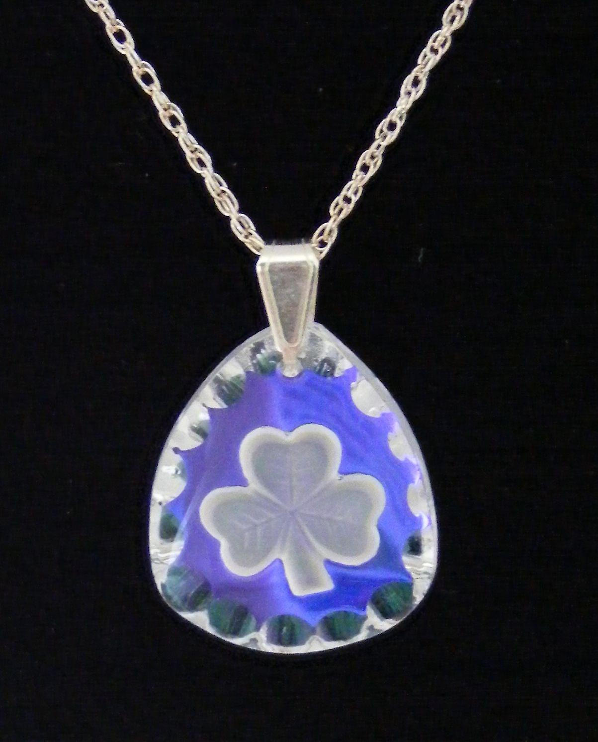 Ice Blue Triangle Shamrock Crystal Pendant
