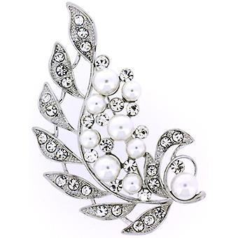 Brooches Store Antique Silver Pearl  and  Crystal Leaf Corsage Brooch Bridal