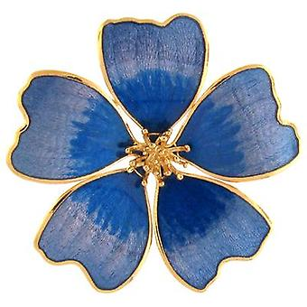 Fine Enamels Purple and Blue Violet Flower Brooch  October Birthday