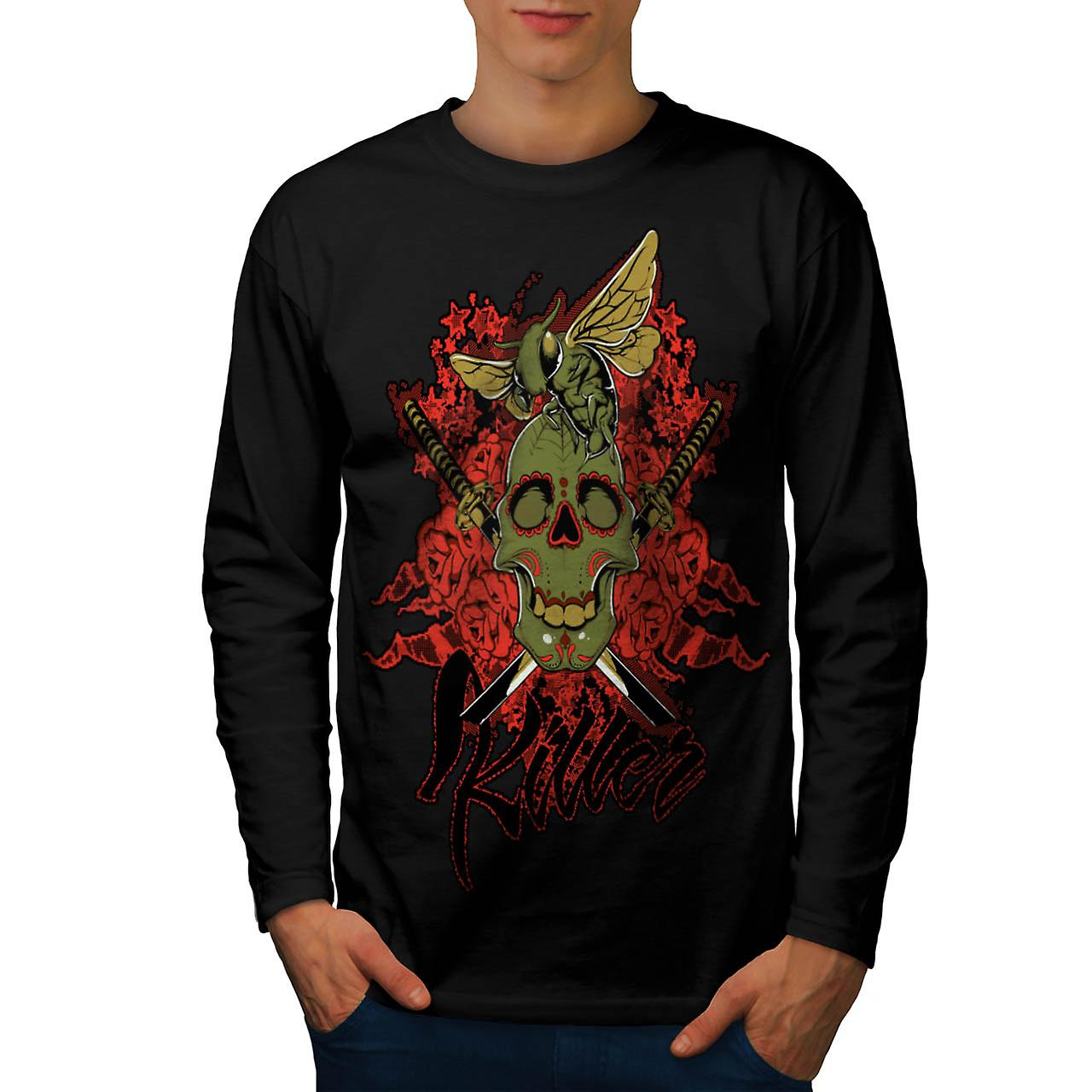 Killer Rose Bug Skull Men Black Long Sleeve T-shirt | Wellcoda