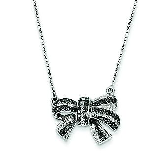 Sterling Silver Polished Prong set Gift Boxed Spring Ring Rhodium-plated Black and White Diamond Bow Pendant Necklace
