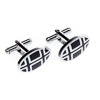 Frédéric Thomass cufflinks oval silver black lattice