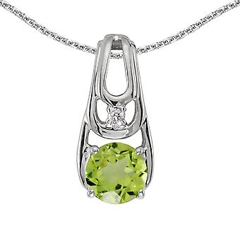 10k White Gold Round Peridot And Diamond Pendant with 16