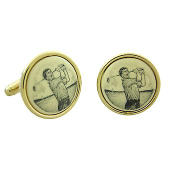 Gemelos de oro plateado Scrimshaw golfista