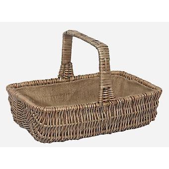 Small Wicker Rectangular Garden Basket Trug